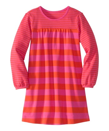 Pink & Orange Stripe Play Dress - Infant, Toddler & Girls