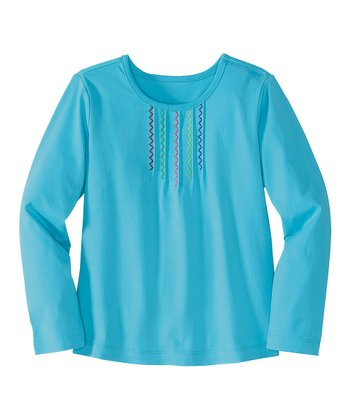 Caribbean Blue Pintuck Tee - Infant, Toddler & Girls