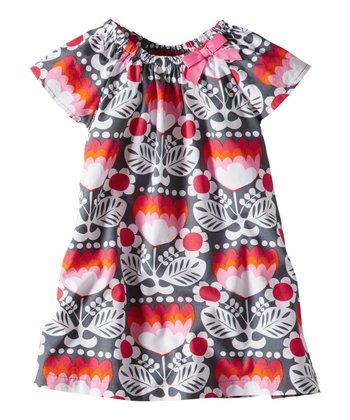 Antwerp Gray Floral Retro Dress - Infant, Toddler & Girls