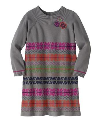 Gray Yarn Shop Sweater Dress - Girls