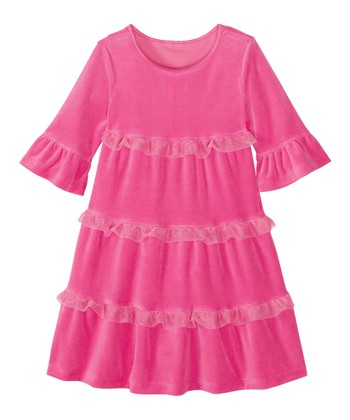 Zing Pink Love to Twirl Velour Dress - Infant, Toddler & Girls