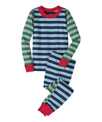 Blue Stripe Mix-It-Up Organic Pajama Set - Infant, Toddler & Boys