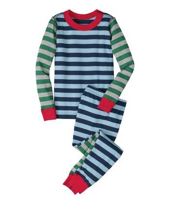 Blue Stripe Mix-It-Up Organic Pajama Set - Infant, Toddler & Boys