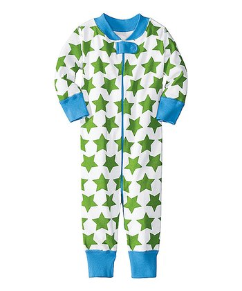 Green & Blue Star Night Night Organic Playsuit - Infant & Toddler