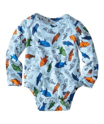 Blue Sharks Organic Bodysuit - Infant & Toddler