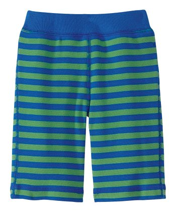 Blue & Green Stripe Soft Landing Organic Pants - Infant & Toddler