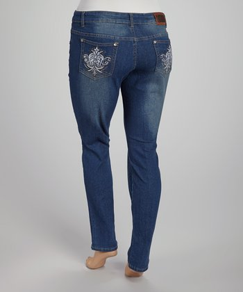 Medium Blue Fade Straight-Leg Jeans - Plus