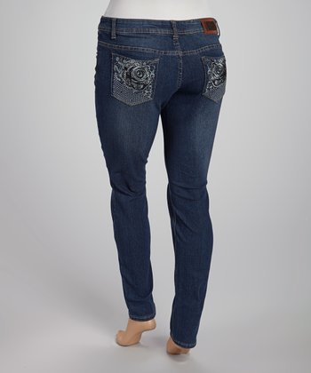 Dark Blue Whisker Straight-Leg Jeans - Plus