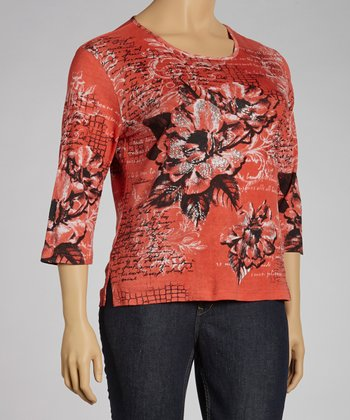 Salmon Bloom Three-Quarter Sleeve Top - Plus