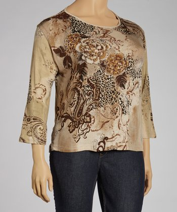 Taupe Jungle Three-Quarter Sleeve Top - Plus