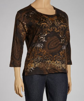 Chocolate Paisley Three-Quarter Sleeve Top - Plus