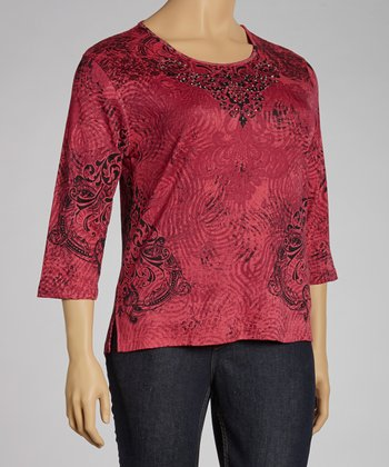 Red Flourish Three-Quarter Sleeve Top - Plus