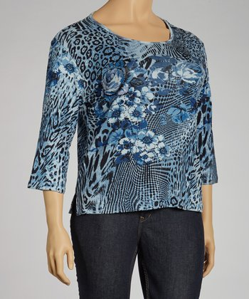 Navy Jungle Three-Quarter Sleeve Top - Plus