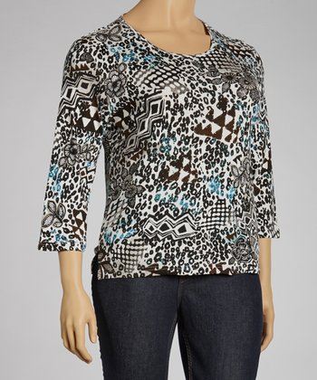 White & Black Jungle Three-Quarter Sleeve Top - Plus