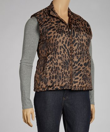 Dark Brown Leopard Puffer Vest - Plus