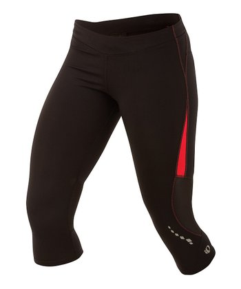 Black & Paradise Pink Aurora Splice Capri Tight - Women