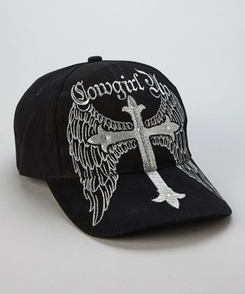 Black Winged Cross Baseball Cap