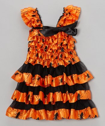 Orange & Black Spider Ruffle Dress - Infant, Toddler & Girls