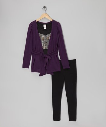 Purple Cardigan Set