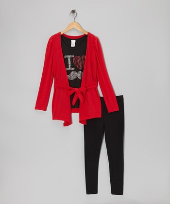Red Cardigan Set