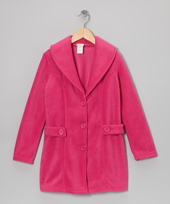 Fuchsia Fleece Shawl Collar Coat