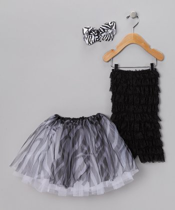 Black Zebra Romper Set - Infant & Toddler