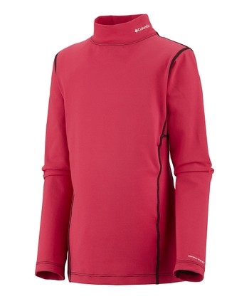 Bright Rose Midweight Mock Neck Thermal - Kids