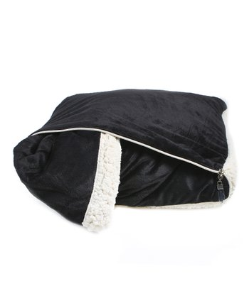 Black Microsherpa Throw/Pillow