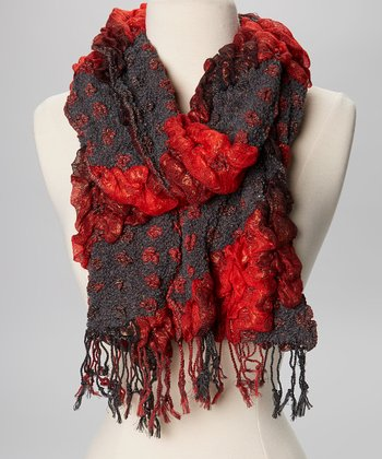 Red & Gray Stripe Scarf