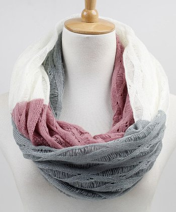 Ivory & Blush Color Block Infinity Scarf