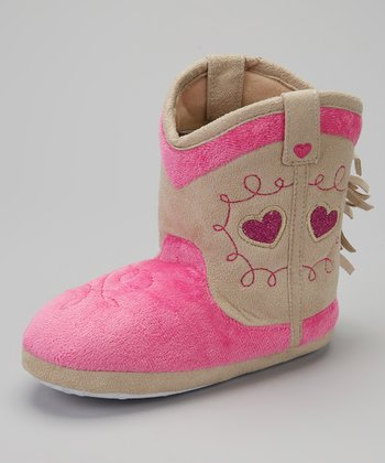 Pink Cowboy Boot Slipper
