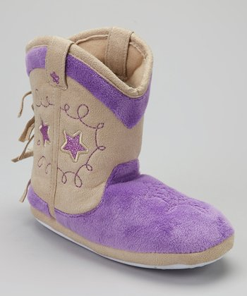 Purple Cowboy Boot Slipper