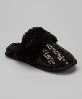 Black Sequined Slipper