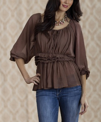 Brown CeeCee Babydoll Top - Women