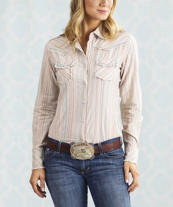Ivory Date Night Button-Up - Women