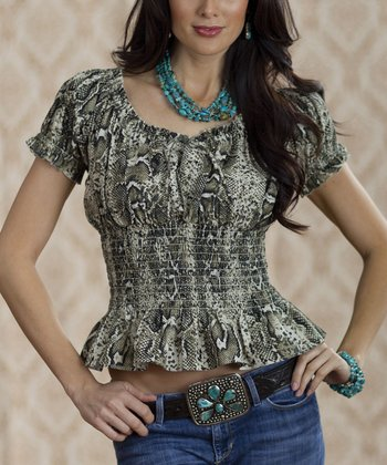 Green Melania Python Top - Women & Plus