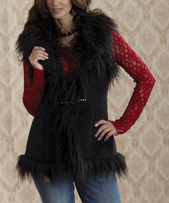 Black Pamela Faux Fur Vest - Women