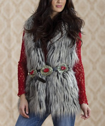 Gray & White Sue Ellen Faux Fur Vest - Women