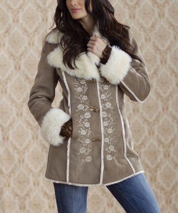 Ash & Ivory Rose Embroidered Faux Fur Coat - Women