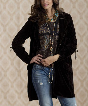 Black Vintage Fenway Velvet Jacket - Women