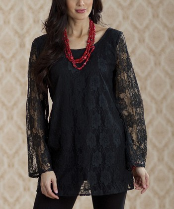 Black Lace Long-Sleeve Dress - Women