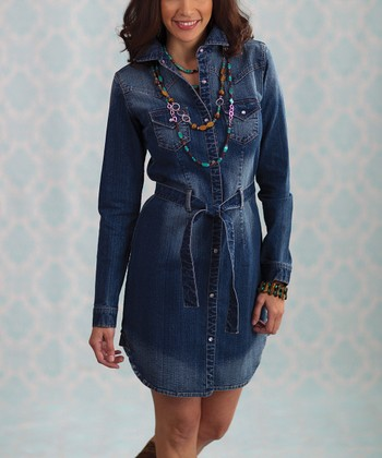 Blue Katie West Denim Shirt Dress - Women