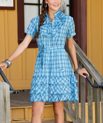 Blue Plaid Miranda Shirt Dress - Women