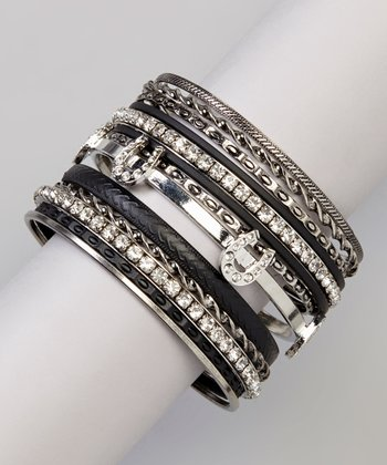 Silver & Black Horseshoe Bangle Set