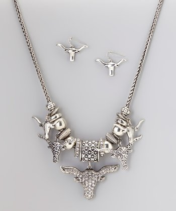 Silver Longhorn Necklace & Earrings Set