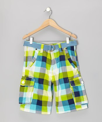 Turquoise Plaid Shorts - Toddler & Boys