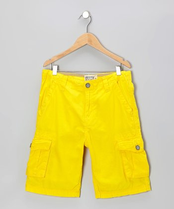 Yellow Fashion Cargo Shorts - Toddler & Boys