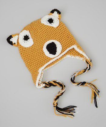 Brown & White Fox Earflap Beanie