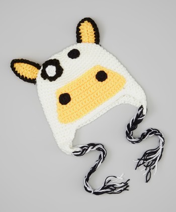 White & Tan Cow Earflap Beanie
