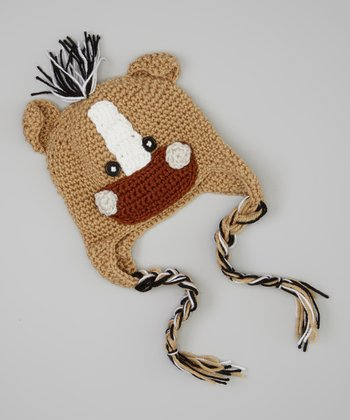 Brown & Tan Horse Earflap Beanie